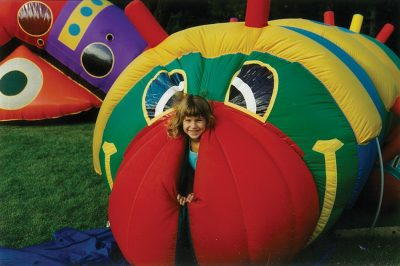 Inflatable Caterpillar -girl picking