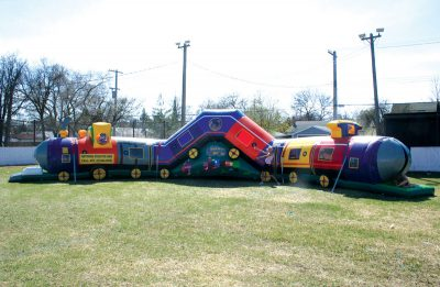 Tricky Train Crawl through inflatable Tunnel